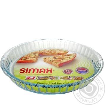 Форма для выпечки Simax из термостойкого стекла круглая рифленая 28X4см - купить, цены на Novus - фото 1