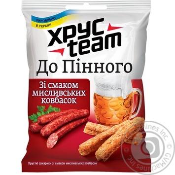 Скидка на Сухарики Хрусteam хрустящие К пенному со вкусом охотничьих колбасок 80г