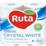 Бумага туалетная Ruta Classic белая 2-слойная 4шт