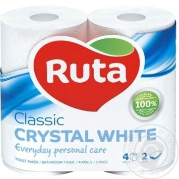 Ruta Crystal Toilet Paper White 4pcs - buy, prices for MegaMarket - image 1
