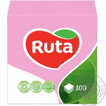 Серветки Ruta рожеві паперові 1-шарові 24*24см 100шт - купити, ціни на МегаМаркет - фото 1