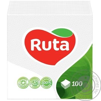 Салфетки Ruta белые бумажные 1-слойные 24*24см 120шт - купить, цены на Novus - фото 1