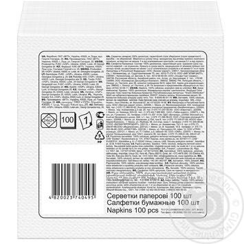Салфетки Ruta белые бумажные 1-слойные 24*24см 120шт - купить, цены на Novus - фото 2