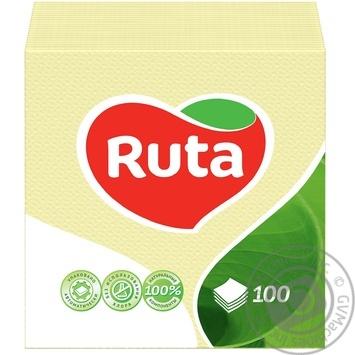 Paper napkins Ruta yellow 1-ply 24*24cm 100pcs