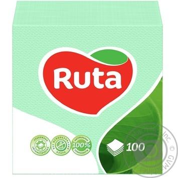 Салфетки Ruta зеленые бумажные 1-слойные 24*24см 100шт
