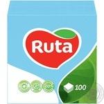 Салфетки Ruta голубые бумажные 1-слойные 24*24см 100шт