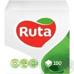 Салфетки Ruta белые бумажные 1-слойные 33*33см 120шт