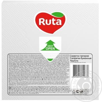Салфетки Ruta Колор белые бумажные 3-слойные 33*33см 20шт - купить, цены на ЕКО Маркет - фото 2