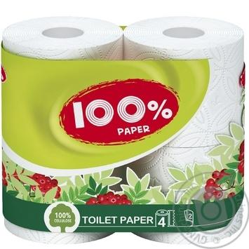 Бумага туалетная 100% Paper белая 2-слойная 4шт - купить, цены на Novus - фото 1