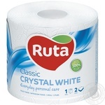 Бумага туалетная Ruta Classic белая 2-слойная 1шт