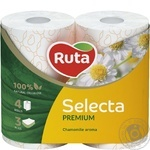 Toilet paper Ruta Selecta white with chamomile aroma 3-ply 4pcs - buy, prices for Novus - image 1
