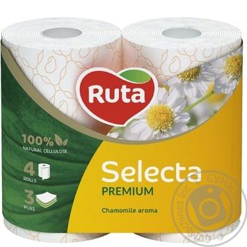 Папір туалетний Ruta Selecta білий з ароматом ромашки 3-шаровий 4шт - купити, ціни на Novus - фото 1