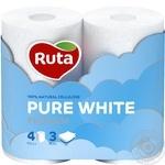 Туалетная бумага Ruta Pure White трехслойная 4шт
