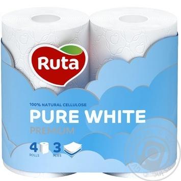 Ruta Toilet Paper Pure White three-layer 4pcs - buy, prices for Novus - image 1