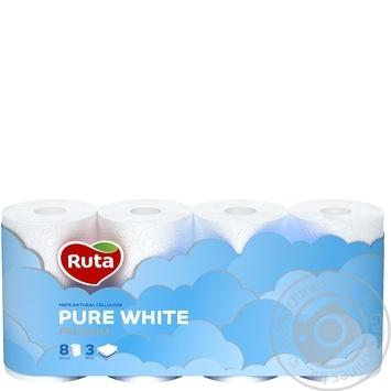 Бумага туалетная Рута Пур Вайт трехслойная белая 8шт - купить, цены на СитиМаркет - фото 2