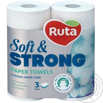 Полотенца бумажные Рута Софт&Стронг белые 3сл 2шт - купить, цены на Novus - фото 2