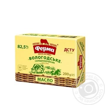 Масло Ферма Вологодское сладкосливочное 82.5% 200г - купить, цены на Novus - фото 1
