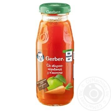 Сік Гербер яблучно-морквяний з м'якоттю дитячий відновлений пастеризований без цукру з вітаміном С з 5 місяців 175мл