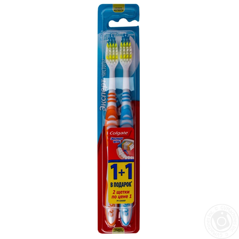 Зубна щітка Colgate Екстра Чистота 1+1 Різнорівневі щетинки М яка подушечка  для чищення 4b905accfcf13