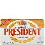 Масло President кислосливочное несоленое 82% 400г