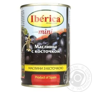 Маслины Иберика мини черные с косточкой 300г - купить, цены на Ашан - фото 1