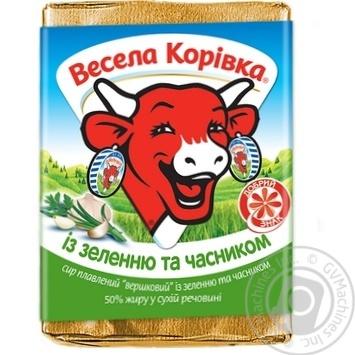 Сыр плавленый Веселая Коровка с зеленью и чесноком сливочный 50% 90г