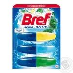 Средство для чистки и ароматизации унитаза Bref Duo-Aktiv жидкий блок Свежий микс 3х50мл