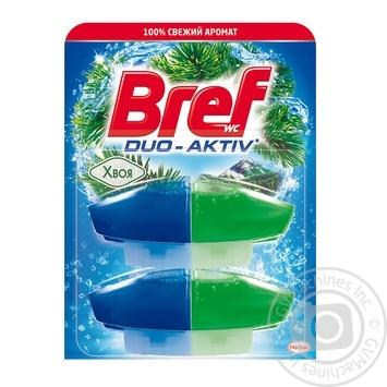 Средство для чистки и ароматизации унитаза Bref Duo-Aktiv жидкий блок Хвоя 2х50мл