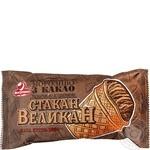 Мороженое Ласунка Стакан великан пломбир с какао и вареной сгущенкой в вафельном стакане 100г