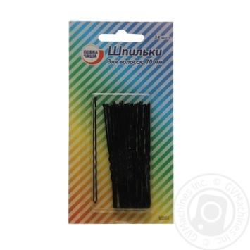 Шпильки для волос Повна Чаша черные 70мм 24шт/уп