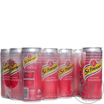 Напиток Schweppes Pink Grapefruit сильногазированый ж/б 0,33л - купить, цены на Метро - фото 1