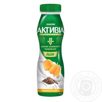 Скидка на Бифидойогурт питьевой Данон Активиа курага-лён 1.5% 290г