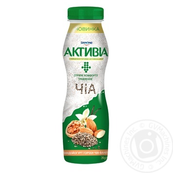 Бифидойогурт Danone Активиа Орехи-Чиа-Ваниль питьевой 1,5% 290г