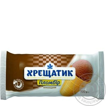Мороженое Хрещатик пломбир шоколадный в вафельном стаканчике 100г - купить, цены на Novus - фото 1
