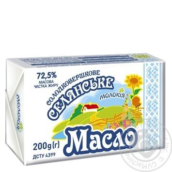 Масло Молокия Селянское сладкосливочное 72,5% 200г