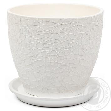 Горшок Магнолия 16*19*2,5 шёлк, белый, керамика