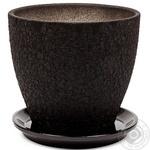 Горшок Магнолия 16*19*2,5 шёлк, чёрный, керамика