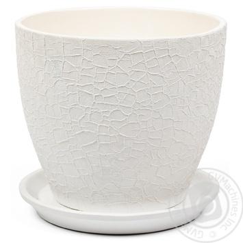 Горшок Магнолия 20*18*3,0 шёлк, белый, керамика