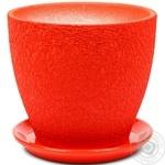 Горшок Магнолия 20*18*3,0 шёлк, красный, керамика