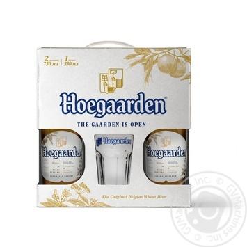 Пиво Hoegaarden White светлое нефильтрованное 2*0,75л + бокал 0,33л - купить, цены на Novus - фото 1