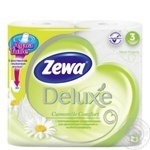 Туалетная бумага Zewa Deluxe Ромашка белая трехслойная 4 рулона