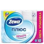 Туалетная бумага Zewa Плюс белая двухслойная 12 рулонов