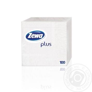 Салфетки Zewa Plus белые однослойные 100шт