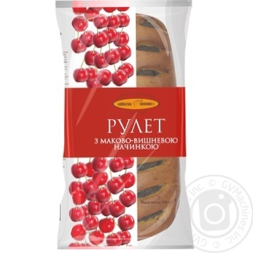 Рулет КиевХлеб с маково-вишневой начинкой 300г - купить, цены на Фуршет - фото 1
