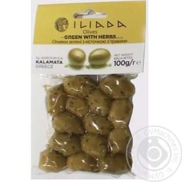 Оливки зелені з кісточкою з травами дой пак Iliada 100г