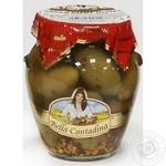 Оливки зелені великі з кісточкою зі спеціями в розсолі консервовані Bella Contadina 314мл