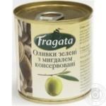 Оливки зелені з мигдалем консервовані пастеризовані Fragata 200г