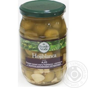 Оливки зелені Hojiblanca з/к з часником консервовані пастеризовані Feudo verde 360г