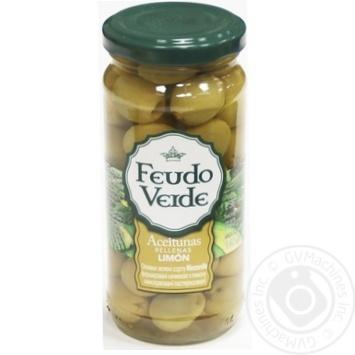 Оливки зелені Manzanilla фарш. нач. з лимону консервовані пастеризованіFeudo verde 240г