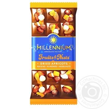 Шоколад молочный Millennium Fruits&Nuts с миндалем, цельными лесными орехами, курагой и изюмом 80г - купить, цены на Novus - фото 1